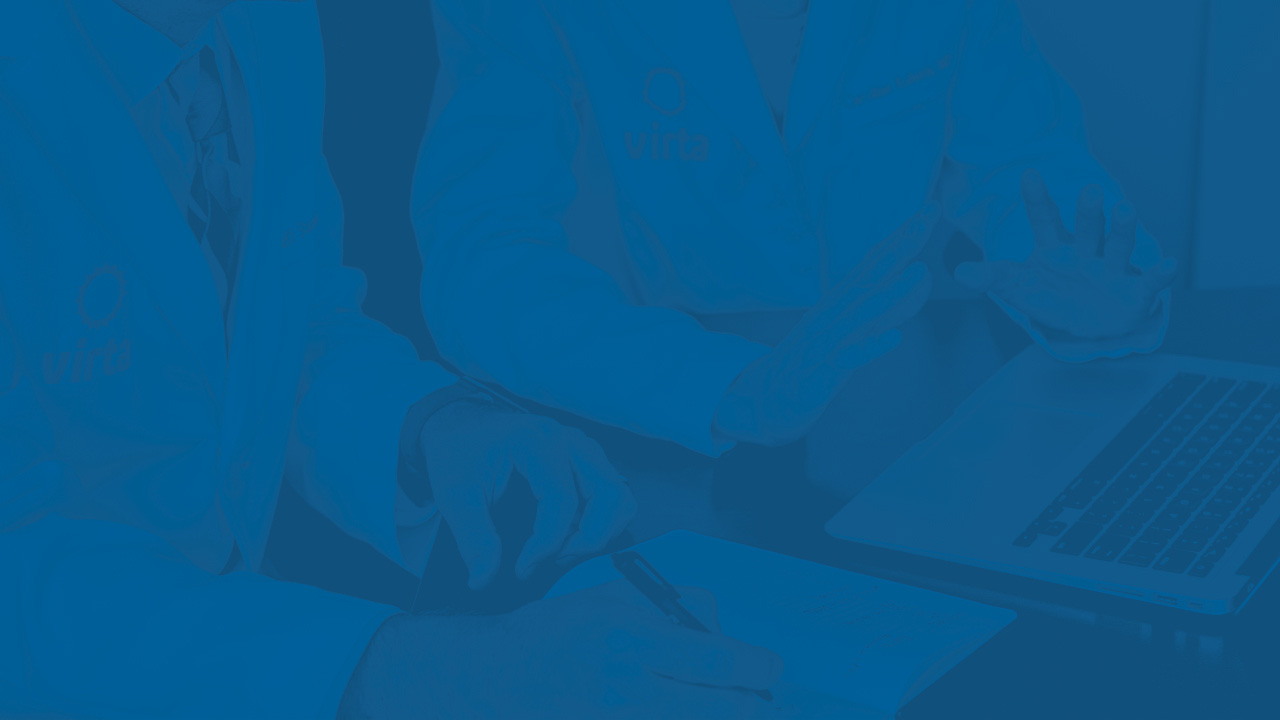 Blue background image of two Virta clinicians talking to each other