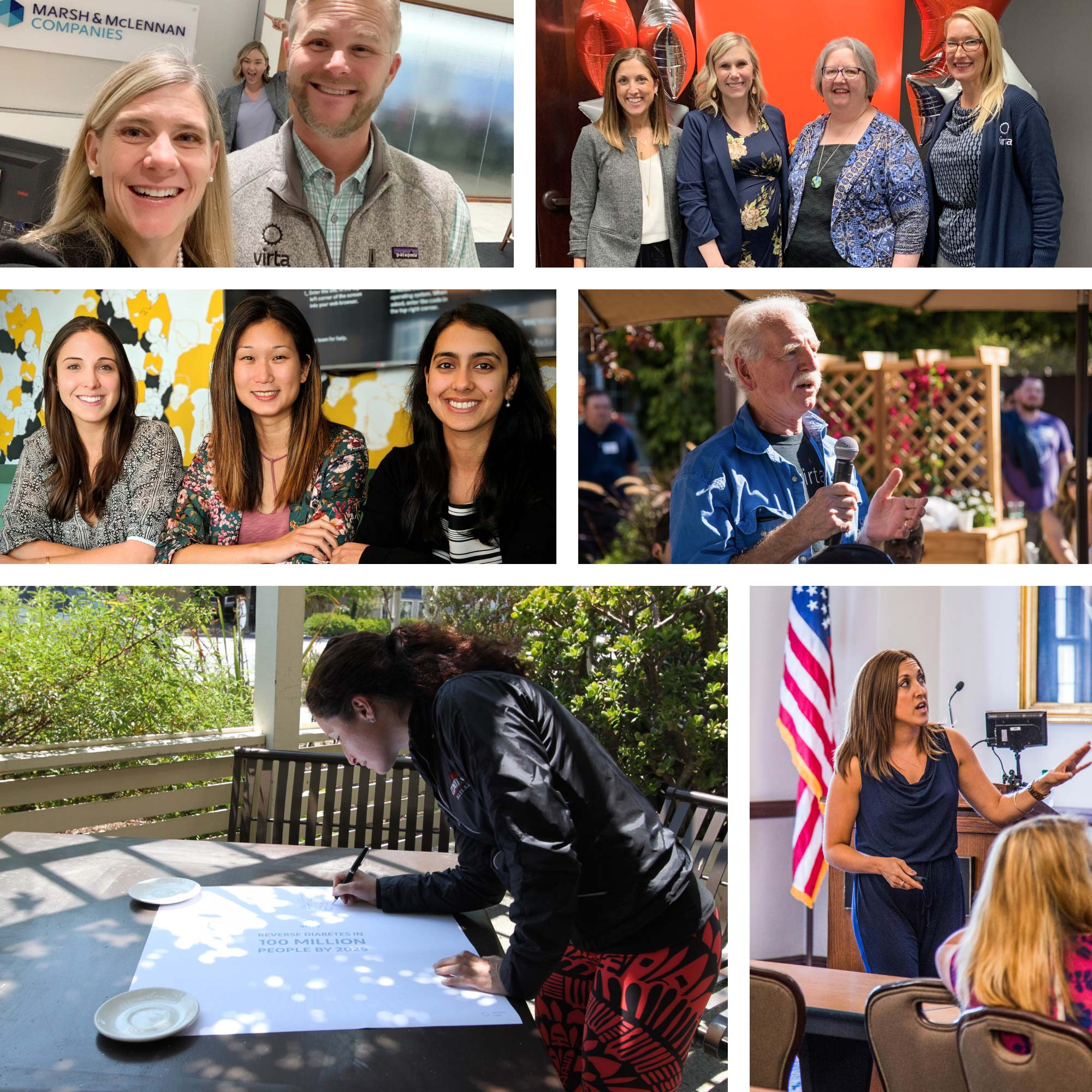 A collage of photos of the Marketing team at Virta