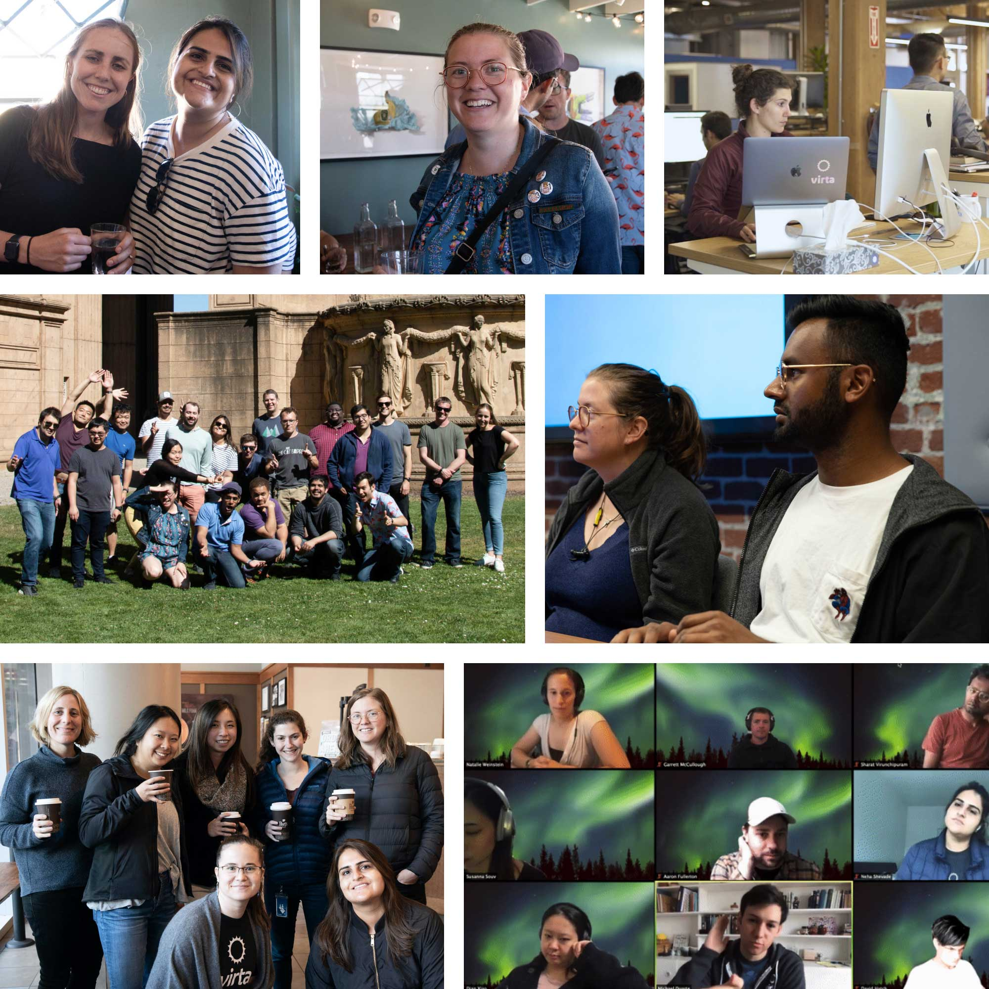 A collage of photos of the Engineering team at Virta