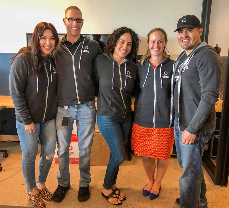 Five Virtans posing together wearing Virta zip-up hoodies
