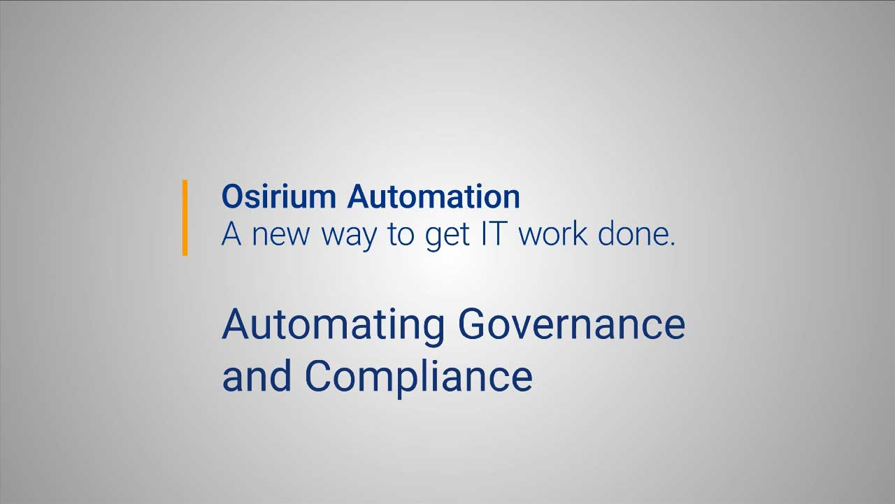 Osirium Automation for Governance