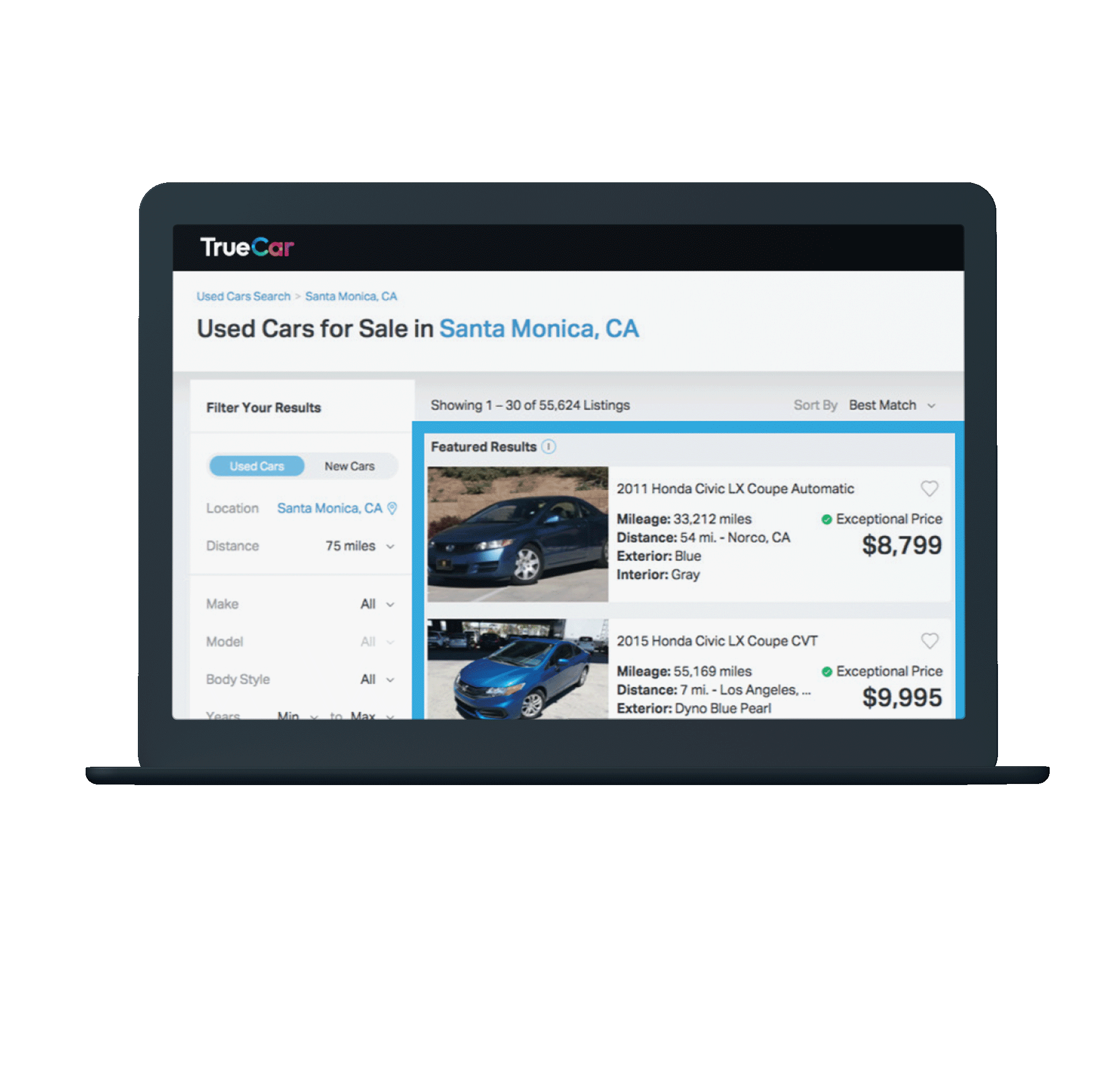 TrueCar Example Sponsored Listing Image Showing Used Cars Available to Dealers