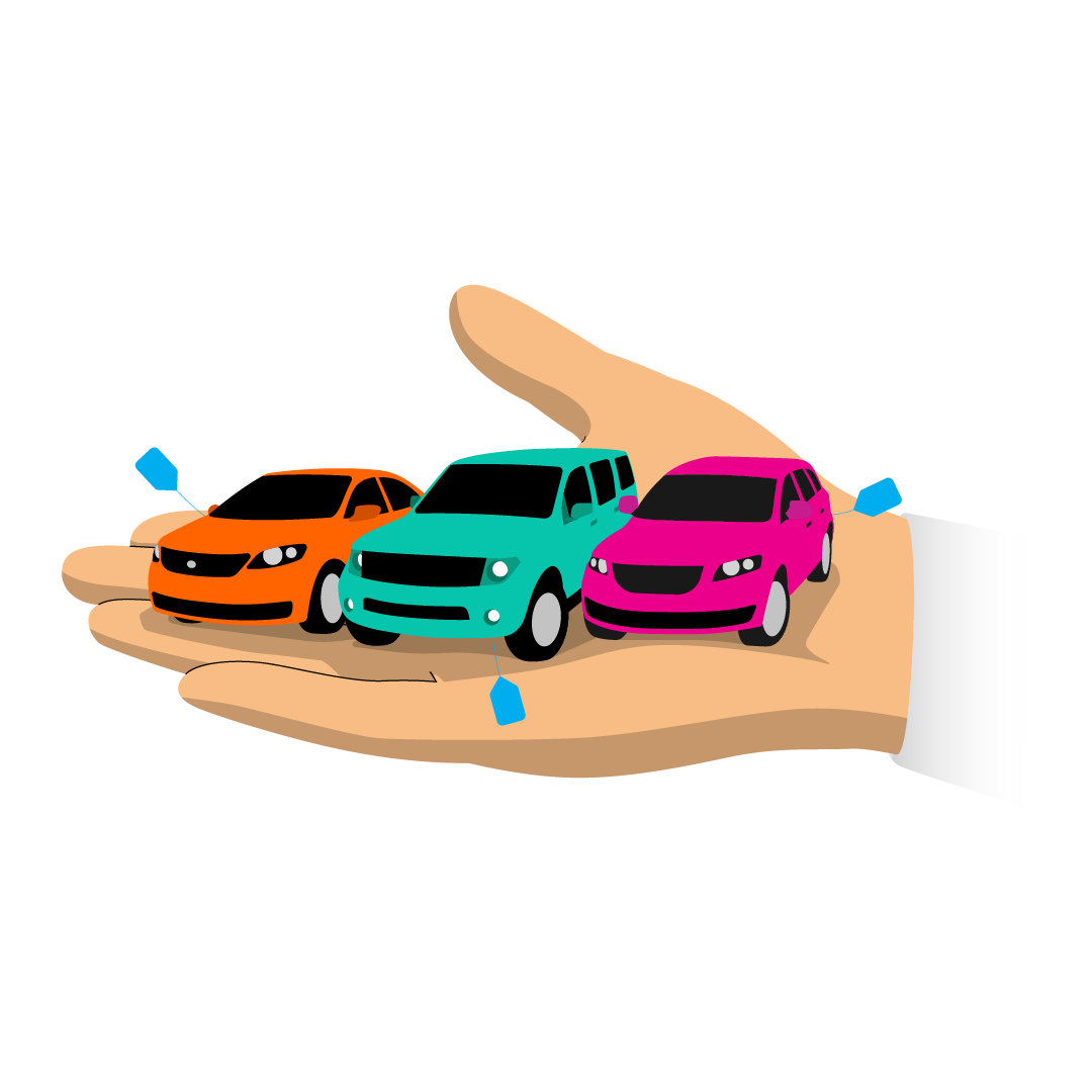 A graphic of a hand holding some cars - depicting  a Transfer of Trust