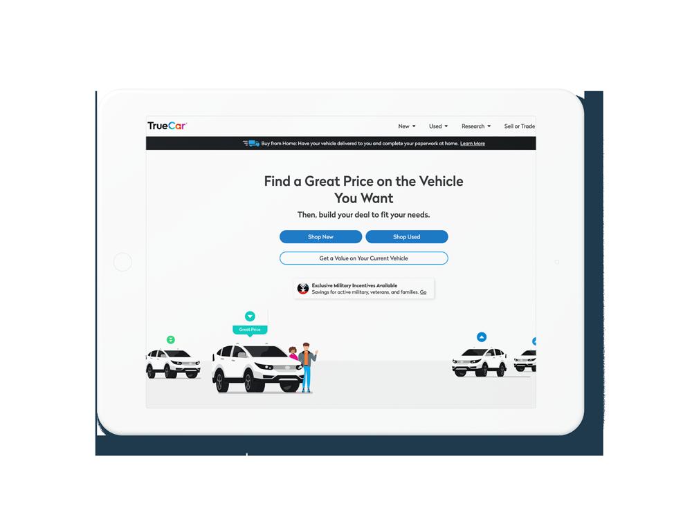 Ipad showing Current TrueCar Website
