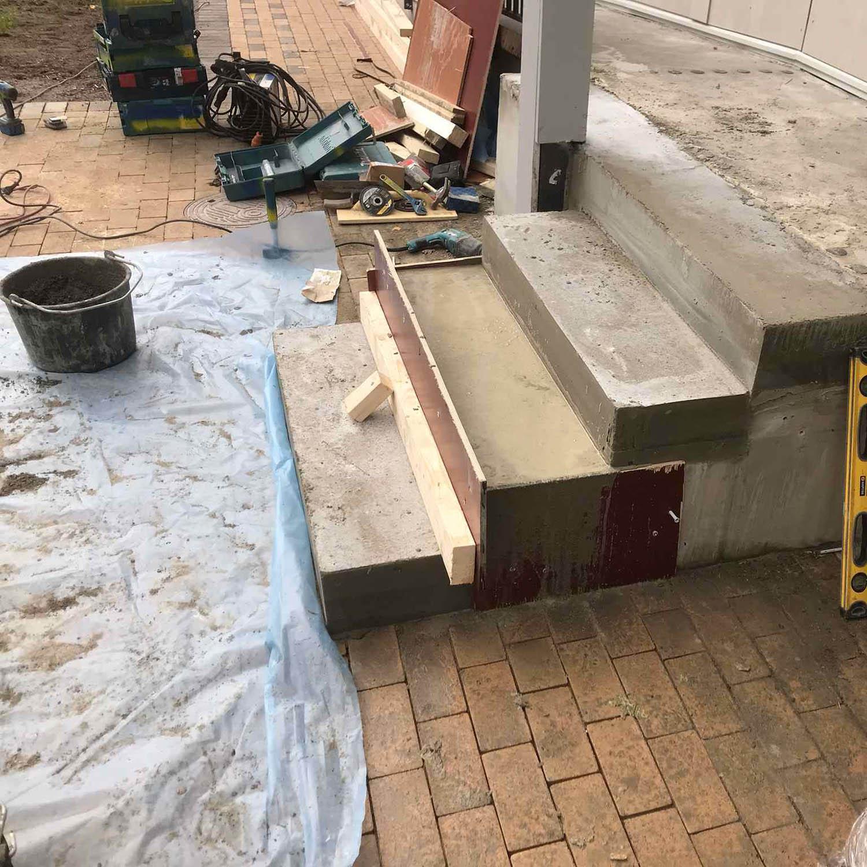 Byggprojekt trappa i betong