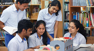 GIIS CBSE Students Group Discussion in Library