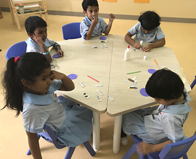 Group discussion in Classroom at GIIS Nursery School