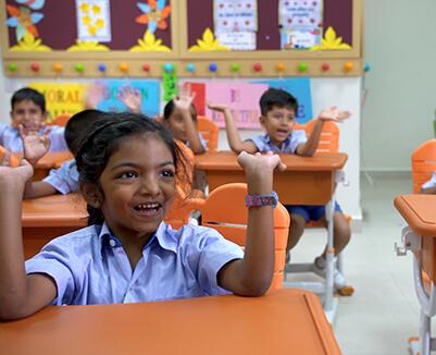 GIIS Preschool Student happy in Classroom