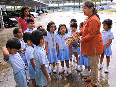 Outdoor teaching for Kindergarten students at GIIS Singapore