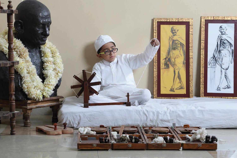 GIIS Singapore Student dressed as Mahatma Gandhi