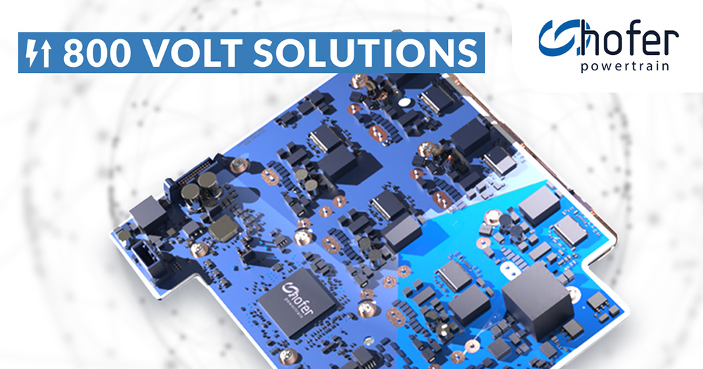 Compact PE215-800V ONEboard solution developed by hofer powertrain