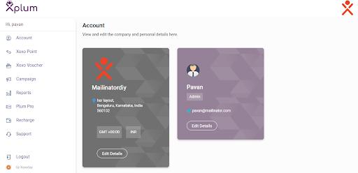 Screenshot of the new Plum dashboard