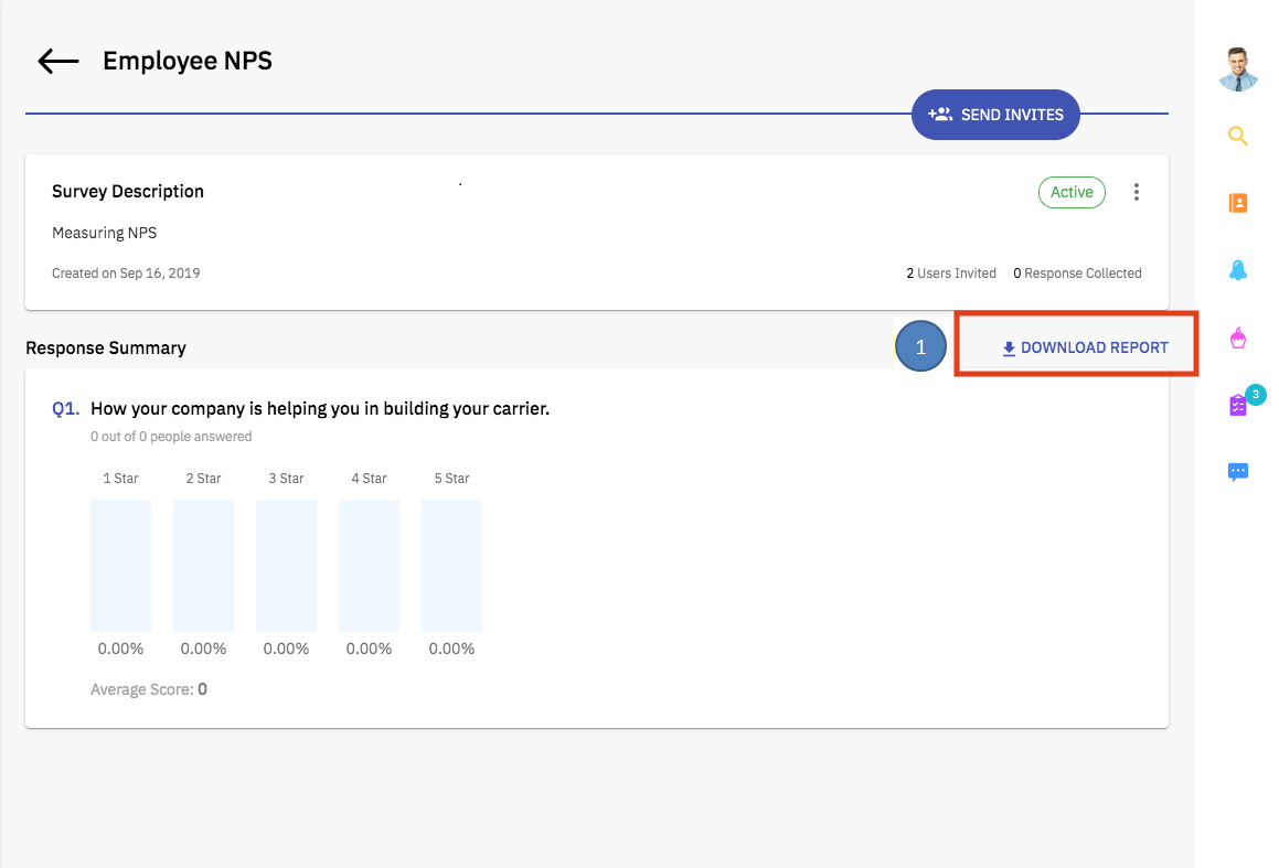 Screenshot of download option available in survey reports