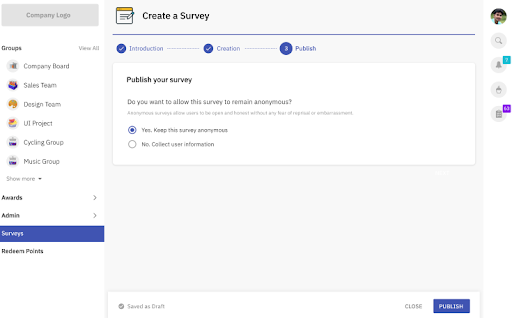 Publish the survey