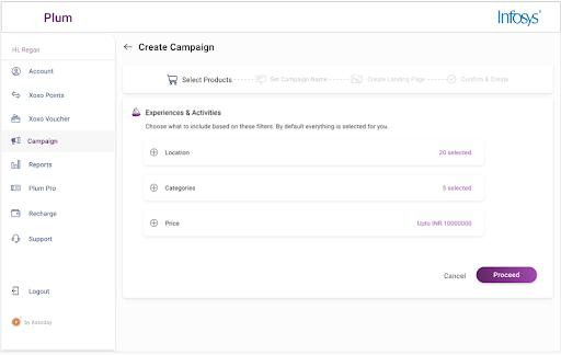 Screenshot of creating a reward campaign