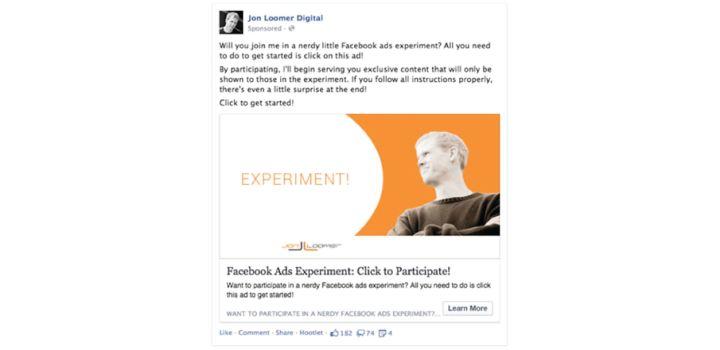Jon Loomer facebook ad experiment
