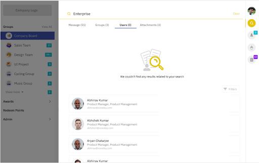 Screenshot of the user result