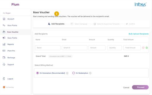 Screenshot of sending a Xoxo Voucher