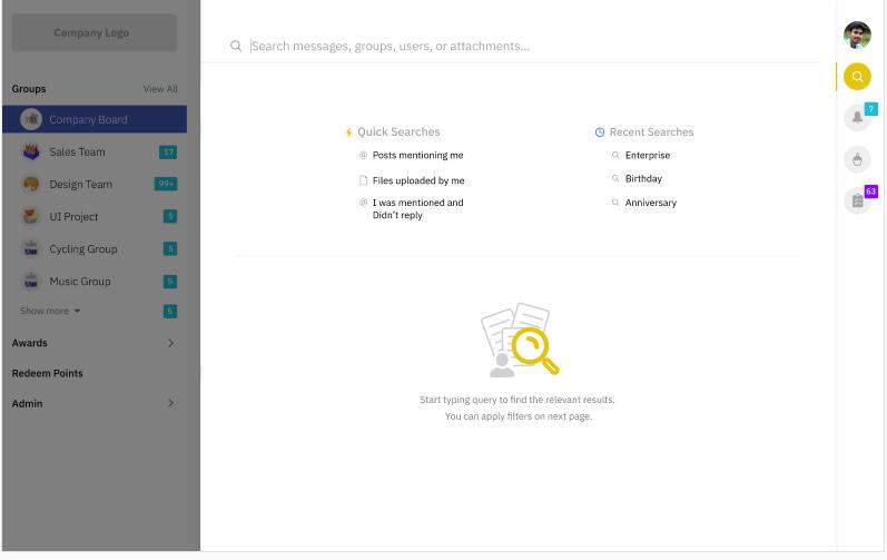 Screenshot of search option