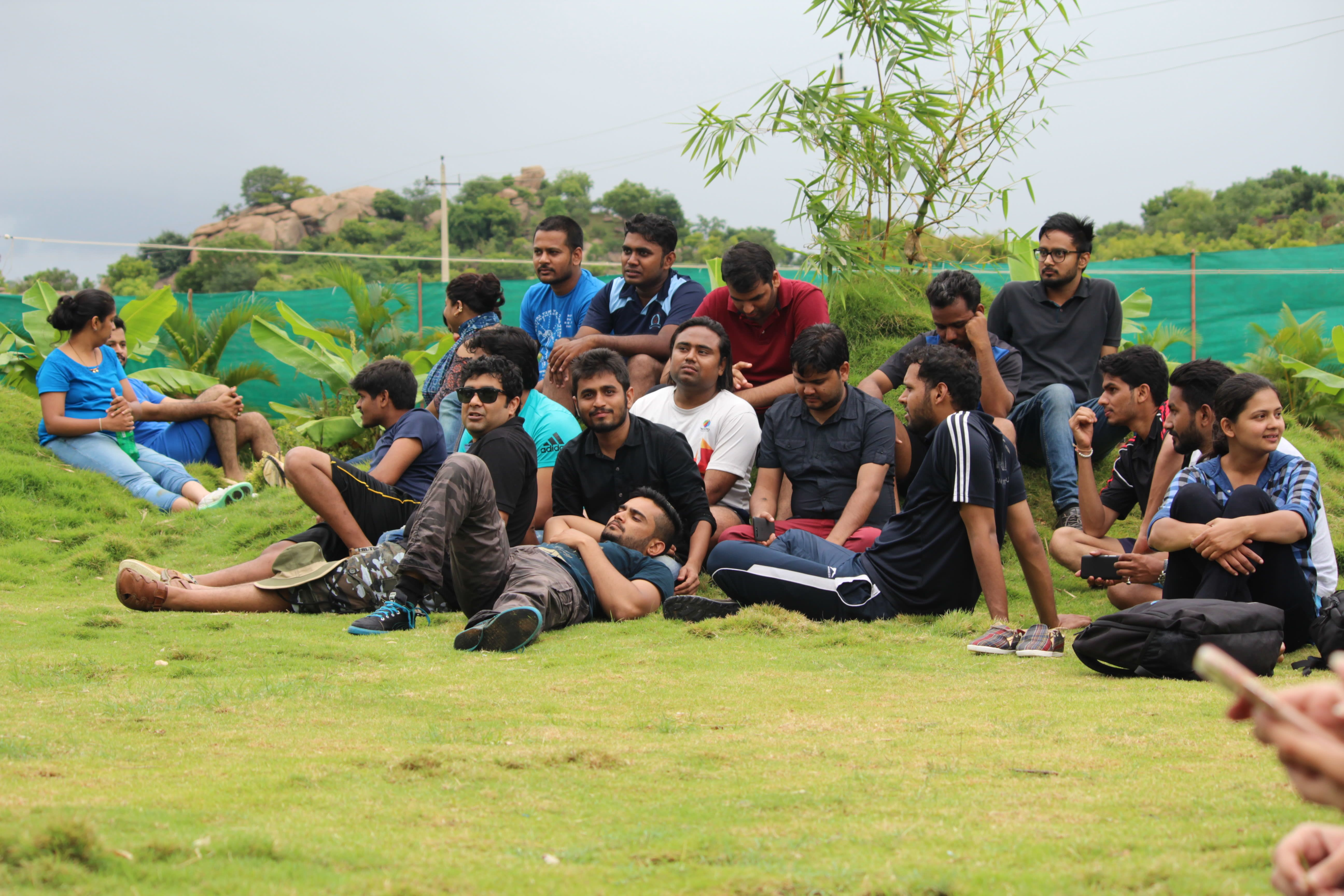 Our Xoxoians chilling out on the green lawns