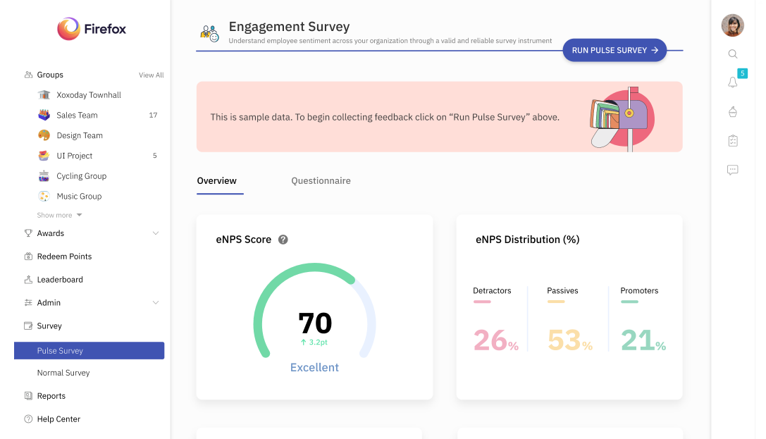 Fig 1: The engagement survey dashboard