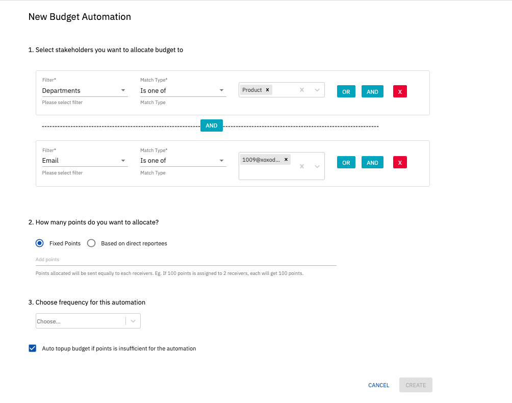 Advanced condition builder in budget automation