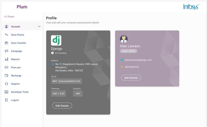 Plum admin profile