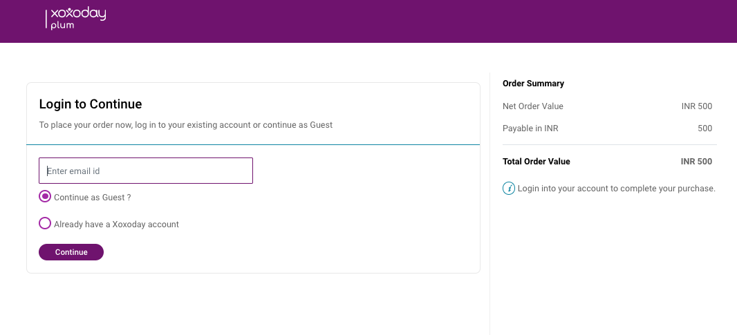 Fig. 4: Guest checkout interface