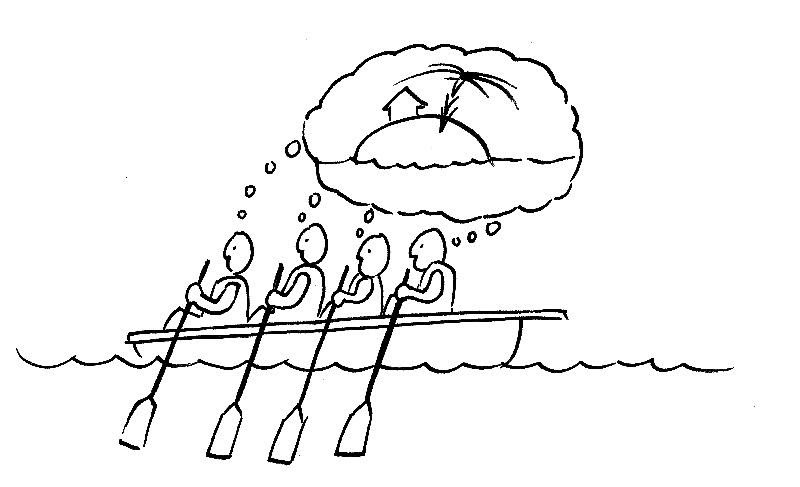 Share your vision - 4 Persons rowing boat sharing same vision