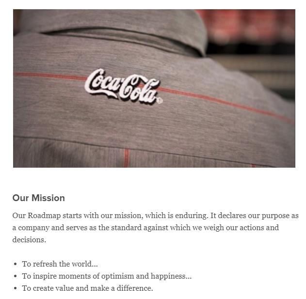 Coca Cola brand statemen