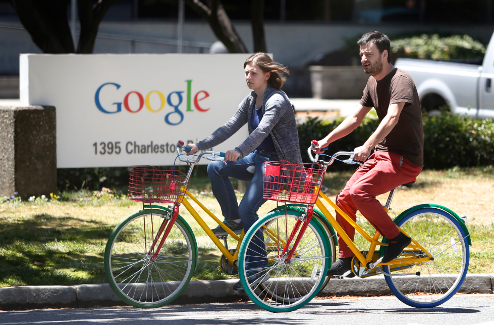 Googlers bicycling in their Mountainview campus