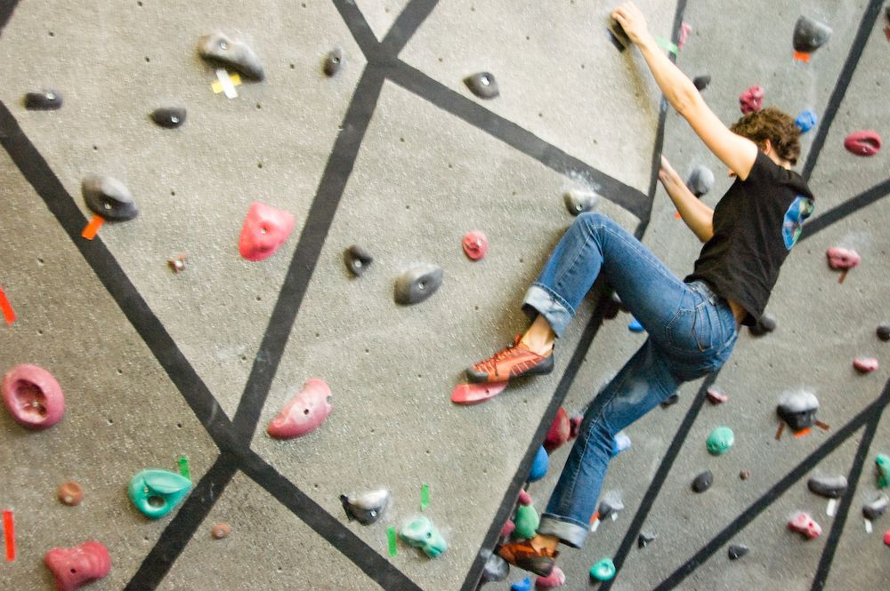 The climbing wall at Mountain View campus