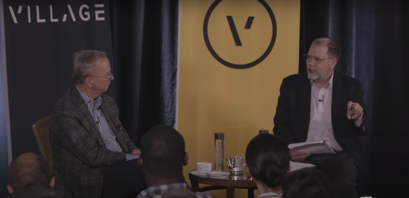 Eric Schmidt (left) during the Tyler Cowen interview