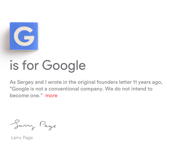 Larry Page in Alphabet's home page quotes.