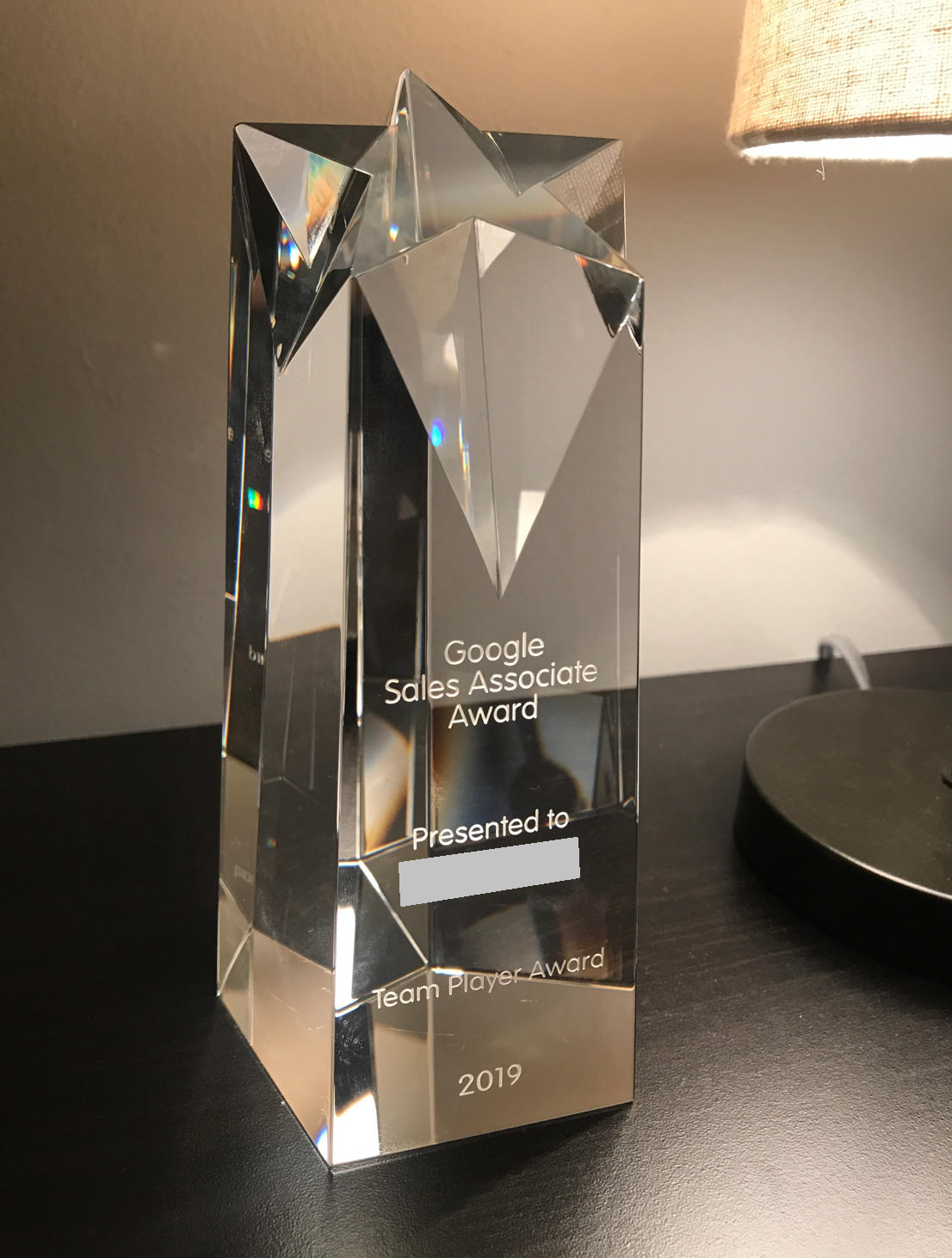 A google sales associate award memorabilia