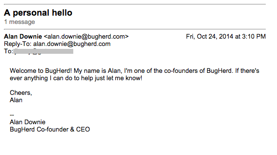 An intuitive subject line and mail from Bugherd leadership.