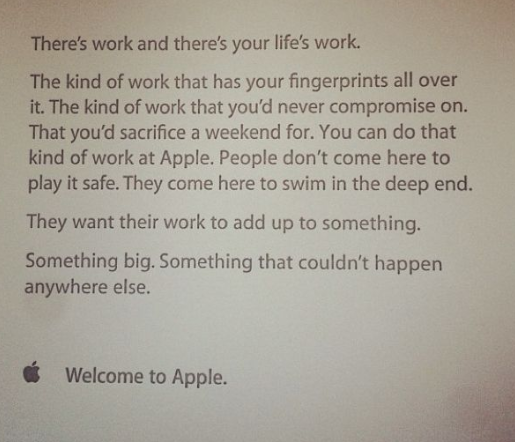 Employee welcome email at Apple