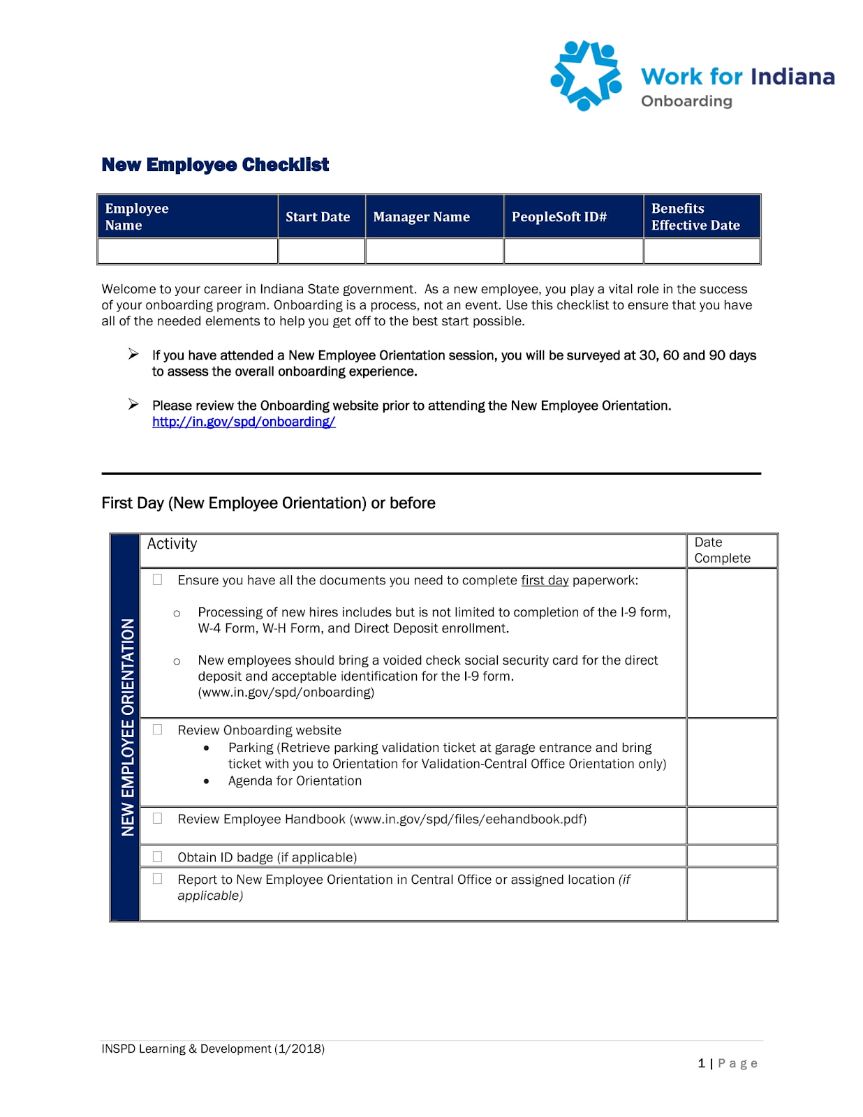 An example of a new employee checklist