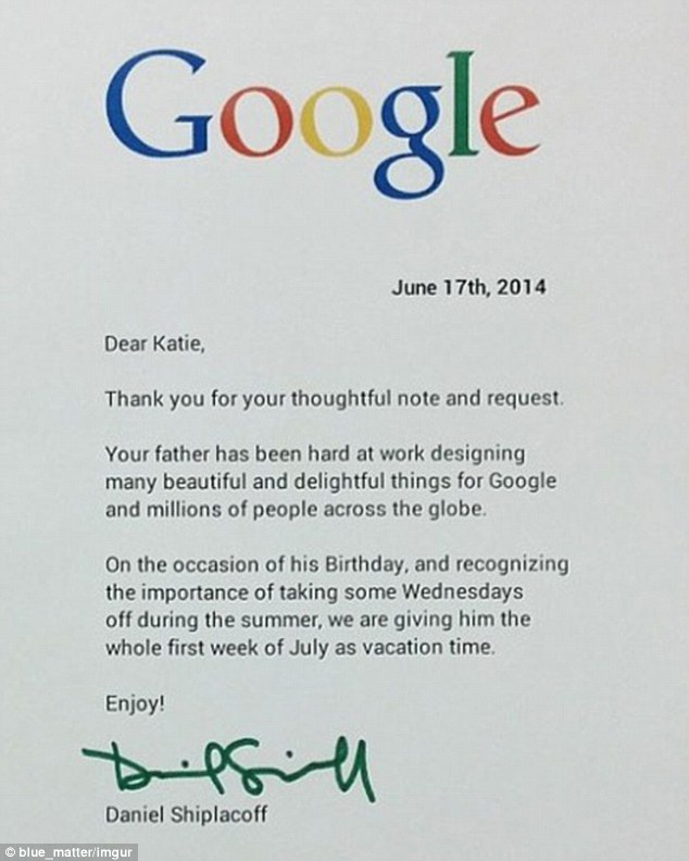 A recognition letter from Google to employee's daughter