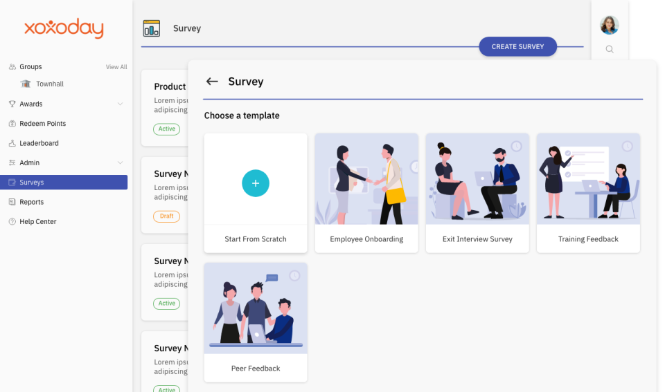 Various survey options available in Xoxoday Empuls