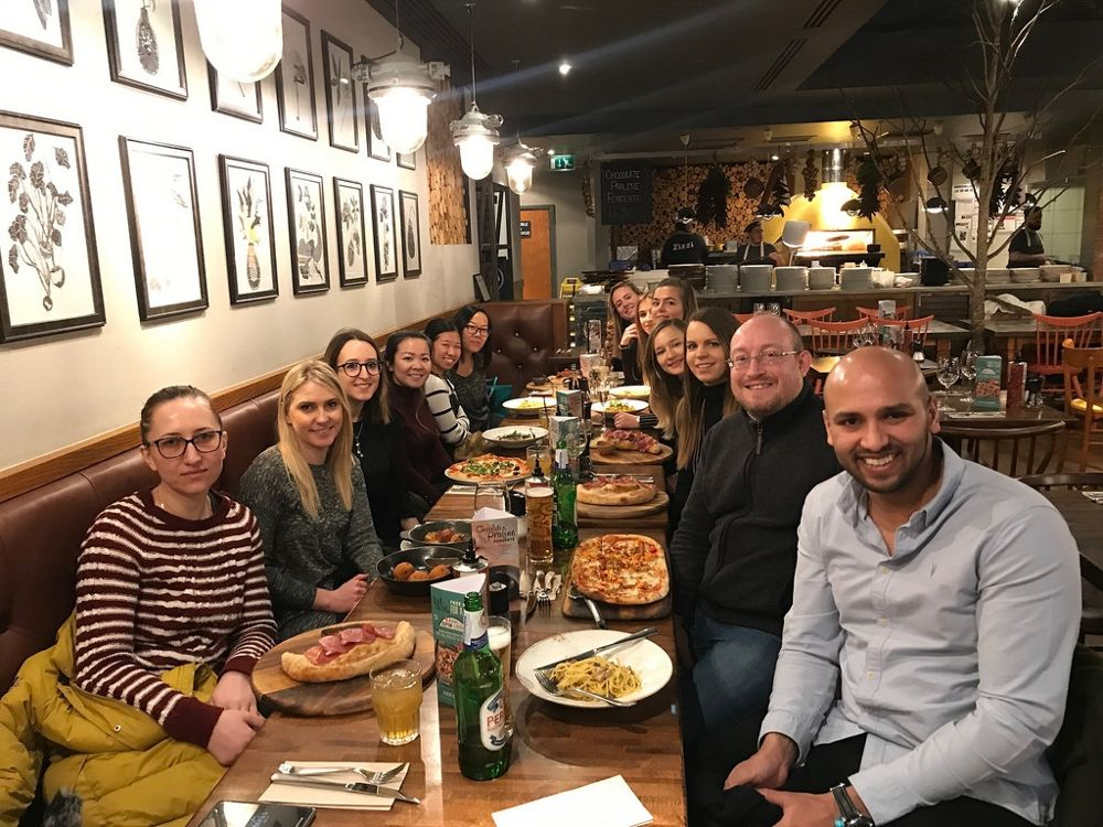 A team lunch at First Point Group's London Office