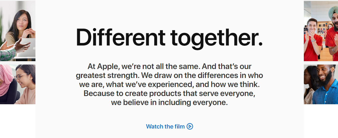 Diversity Page in Apple website