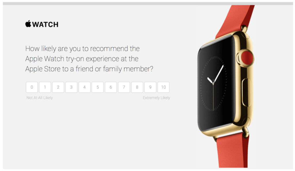 An apple watch NPS survey for the customers