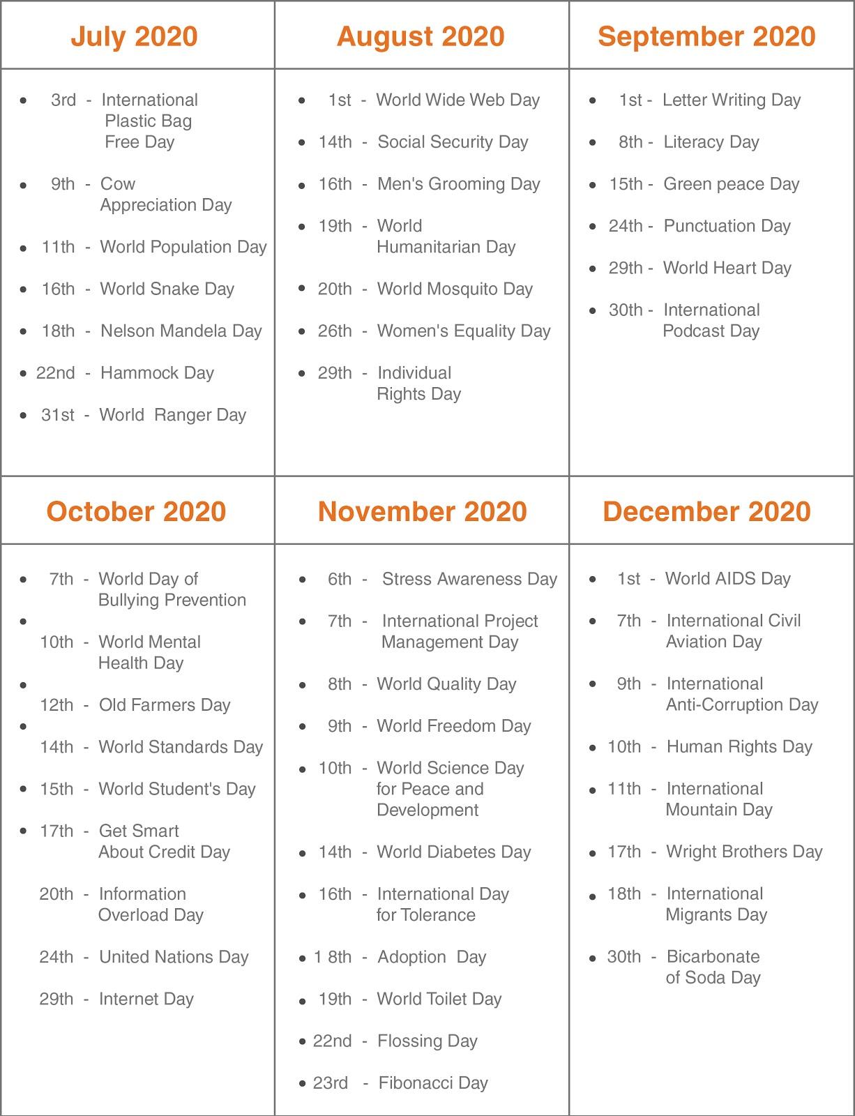 Engagement Calendar