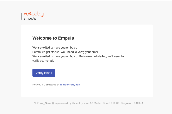 An example of the new email template