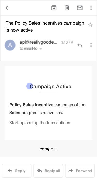 Xoxoday compass screenshot - Email notifications