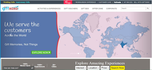 Giftxoxo website in 2015