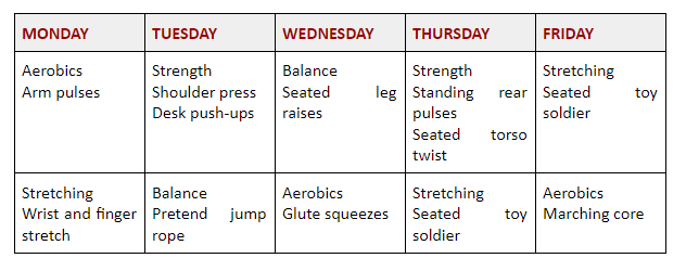 Weekly plan of exercises at your desk