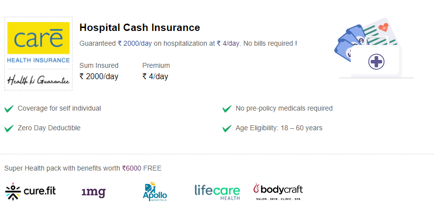 Specifics of the Hospital Cash insurance.