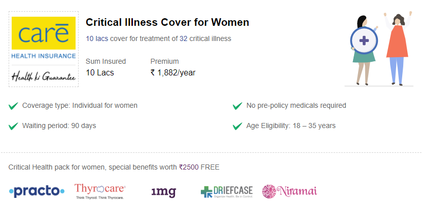 Specifics of the Critical Illness insurance for women.